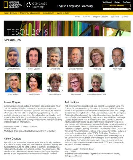TESOL 2016 Speakers Page